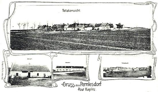 Stará pohlednice ze vsi Pernlesdorf, pošta Kaplice