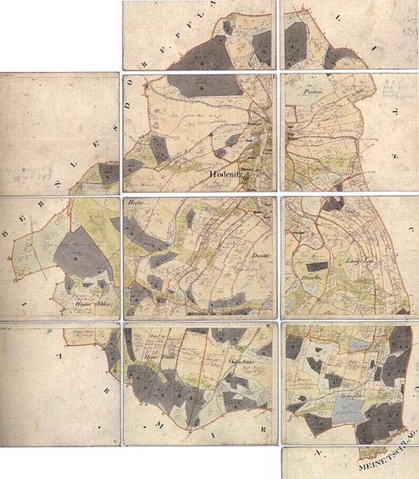 Nižší Hodonice na indikační skice z roku 1826