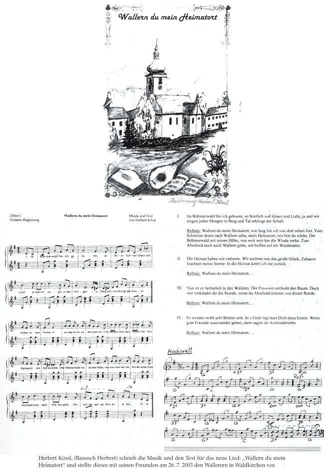 Notový záznam (2003) jeho písně o Volarech s vlastní skladatelovou kresbou v titulu
