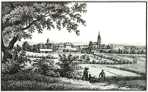 Rodný štýrský Fürstenfeld na litografii J. F. Kaisera z roku 1830