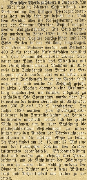 Jako předseda českobudějovického německého spolku pro chov koní podal podle této zprávy přehled činnosti za rok 1920