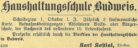 """Inzerát """"hospodyňské"""" školy v Českých Budějovicích z roku 1905"""