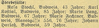 Stručná zpráva o jeho skonu v budějovických německých novinách