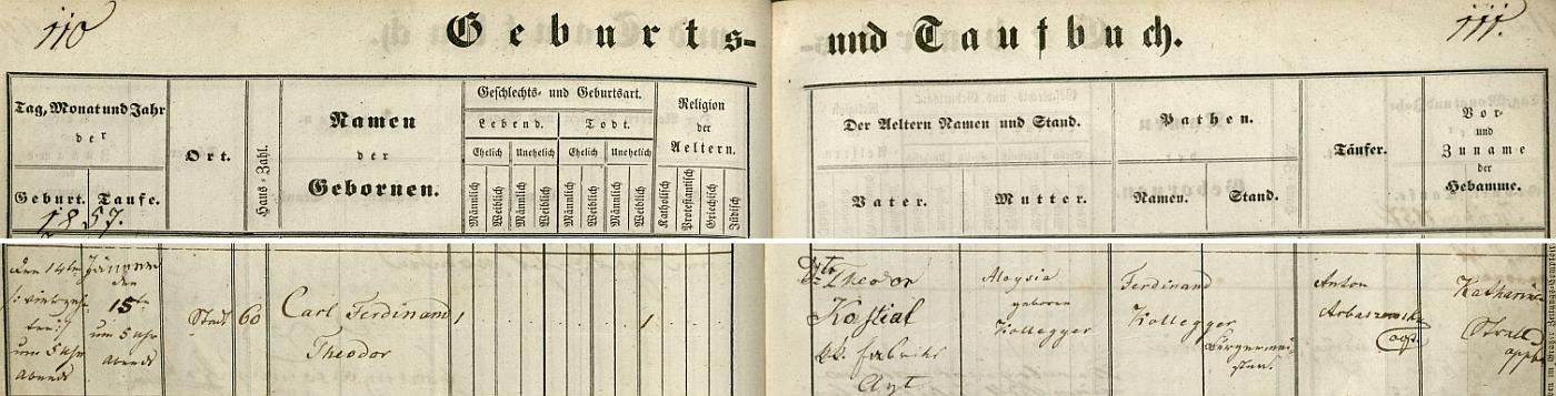 Záznam o jeho narození 6. května 1867 v křestní matrice farní obce Fürstenfeld