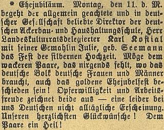 """Takto """"Budweiser Zeitung"""" zaznamenal stříbrnou svatbu Julie a Karla Kostialových"""