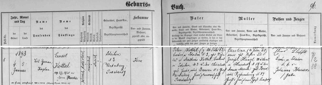 """Narodil se ve Vyšovatce čp. 3 a byl ve Vimperku pokřtěn jako Ernst Kottal (roku 1943 však podle tohoto záznamu vimperské matriky """"od víry odpadl"""") - otcova matka Elisabeth, roz. Fuchsová, pocházela z Pravětína, její muž a novorozencův děd už hospodařil na Ernstově rodném stavení, matka Ernstova byla pak dcerou mlynáře v Šumavských Hošticích čp. 19 Josepha Hanzla a jeho ženy Anny Marie, roz. Beckové z Řepešína - přípis k záznamu uvádí datum svatby Ernsta Kottala s Marií Blaschko dne 3. března roku 1930"""
