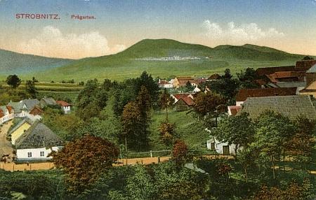 Prägarten, část Horní Stropnice, na pohlednici, vydané Franzem Winkelbauerem někdy na přelomu 19. a 20. století