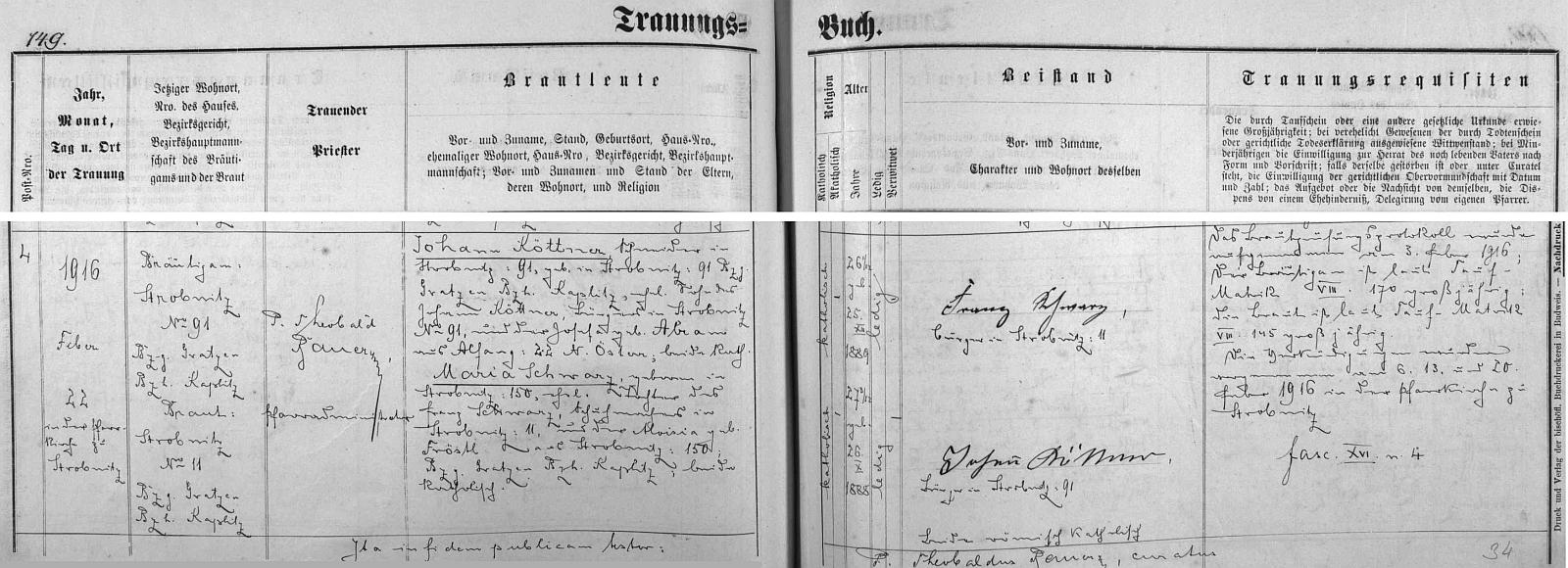 Záznam o jeho svatbě v Horní Stropnici