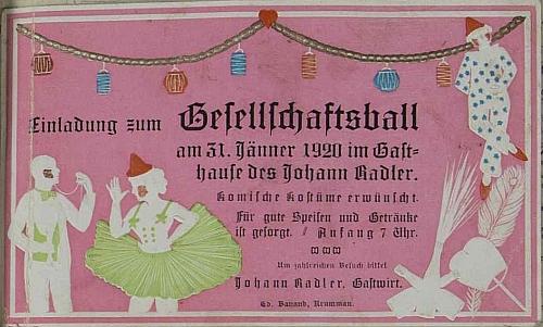 Pozvánka na ples v roce 1920, vlepená do hornostropnické kroniky