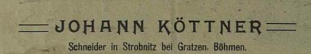 Reklamní štítek jeho krejčovství v obecní kronice