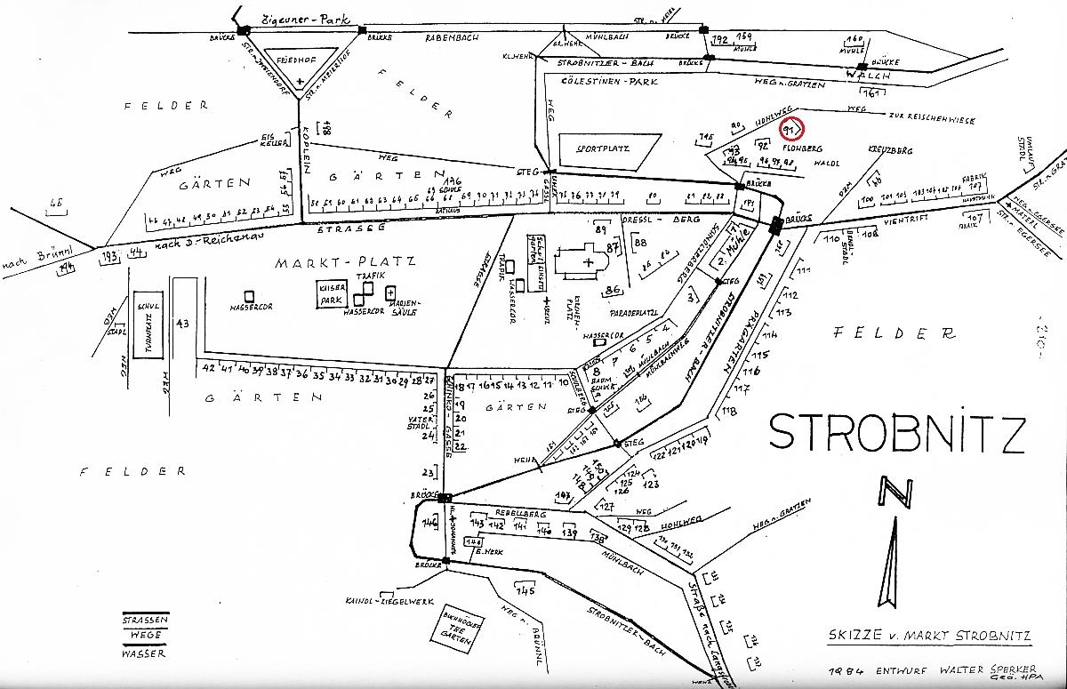Plánek Horní Stropnice s vyznačeným zaniklým stavením čp. 91
