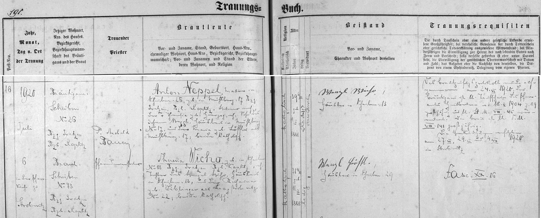 Záznam hornostropnické matriky o druhé svatbě Antona Neppela (tak je tu příjmením psán) s Theresií Wicho