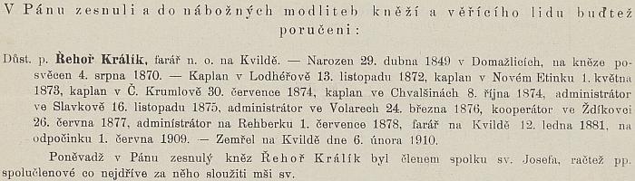 Oznámení o jeho skonu v Ordinariátním listu Budějovické diecéze