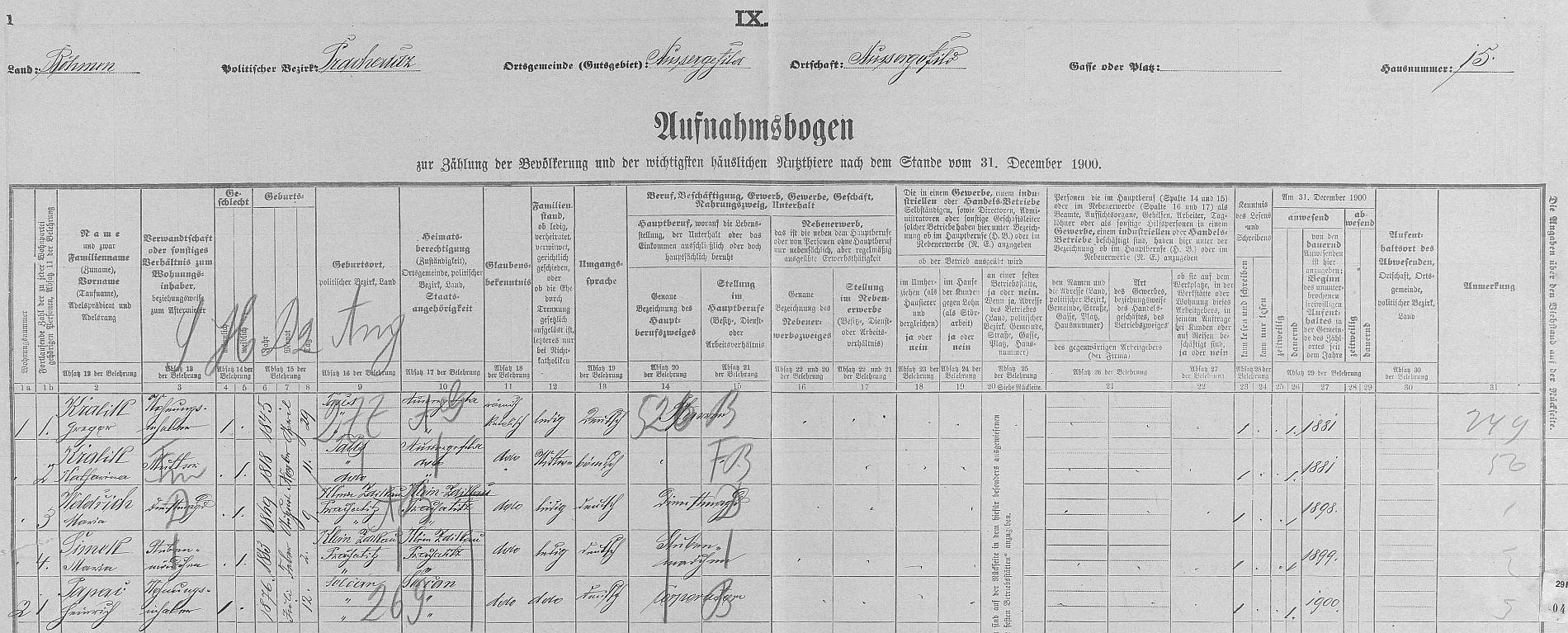 Arch sčítání lidu z roku 1910 pro dům čp. 10 v Kvildě