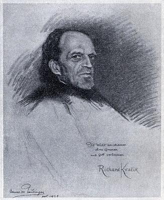 Celek kresby Clemense von Pausingera z roku 1926, kde Kralik napsal ivlastníverše: Die Welt anschauen ohne Grauen und Gott vertrauen