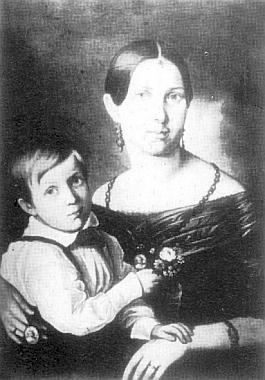 Se svou matkou Louisou, roz. Lobmeyrovou, na obraze ze sbírek Muzea Šumavy z doby kolem roku 1860 (rok 1852,  kdy se otec znovu oženil, je i letopočtem Richardova narození)