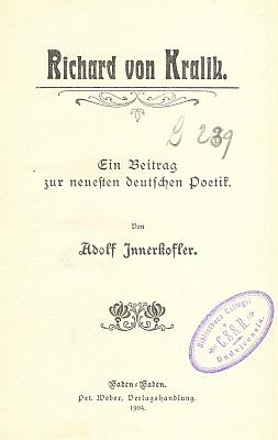 Obálka, frontispis a titulní list (1904) práce o něm, jejíž exemplář se zachoval ve fondu     Jihočeské vědecké knihovny jako součást bibliotéky českobudějovických redemptoristů