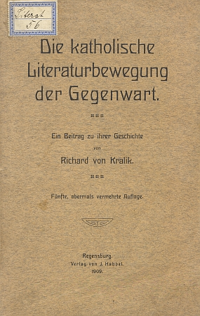 """Obálka (1909) jeho práce o """"katolickém literárním hnutí přítomnosti"""" ztéhož fondu abibliotéky"""