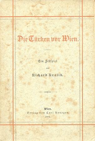 """Obálka (1884) jeho veršované """"slavnostní hry"""" o Turcích před Vídní"""