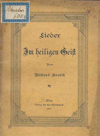 Obálka (1895) jedné z mnoha jeho básnických sbírek, jak se zachovala ve fondu řádové knihovny českobudějovických redemptoristů