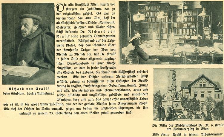 Článek o něm z roku 1928 má zvláštní cenu pro snímky, jež ho provázejí a zachycují jeho vídeňskou vilu apracovnu