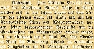 Zpráva o otcově úmrtí na stránkách českobudějovickéhjo německého listu