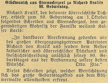 O pozdravu k jeho 80. narozeninám, který mu už z belgického vyhnanství zaslal Otto Habsburský se svou matkou, ovdovělou už císařovnou Zitou