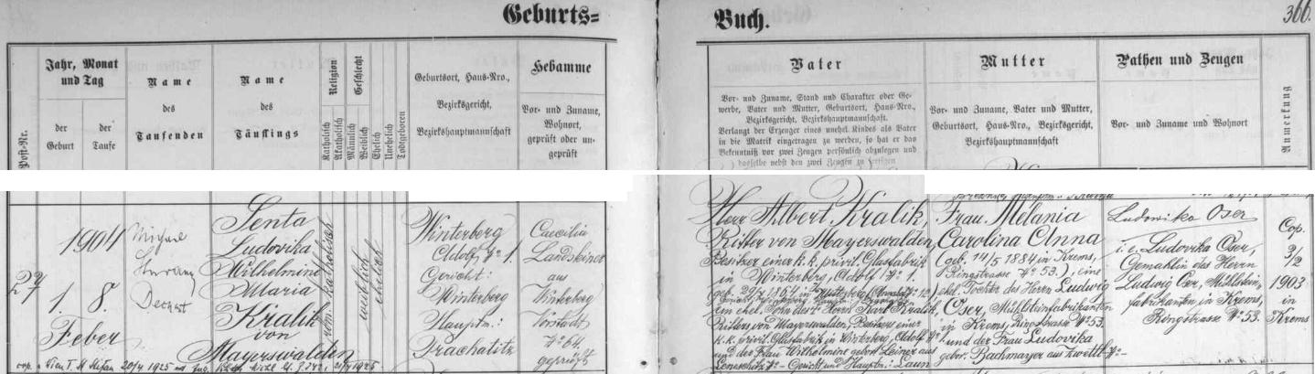 """Dva záznamy vimperské křestní matriky o narození dcer """"posledních z Meyrs Neffen"""" Alberta a Rudolfa Kralika svědčí o tom, že šlo o pravdovou """"šumavskou šlechtu"""""""