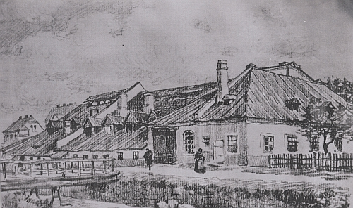 Takto vyhlížela podle dobové kresby Kralikových sklárna v Lenoře