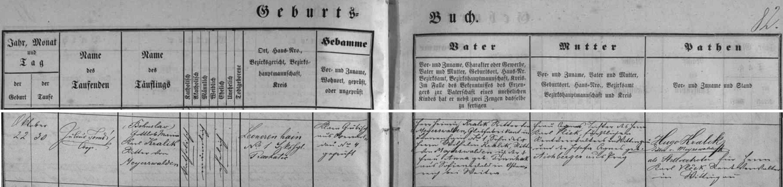 Zápis v křestní matrice farní obce Horní Vltavice uvádí na prvém místě v závorce českou podobu jeho křestního jména zřejmě už proto, že matka novorozeného rytíře Kralika von Meyrswalden byla roz. Vlčková a její otec Karel Vlček byl schwarzenberským důchodním v Třeboni (její matka Josefa Agnes, roz. Aichbergerová, pocházela pak z Prahy) - novorozencův otec Henrich Kralik rytíř von Meyrswalden byl synem Wilhelma Kralika rytíře von Meyrswalden a jeho ženy Anny, roz. Pinnhakové ze Sofienwaldu u Weitry