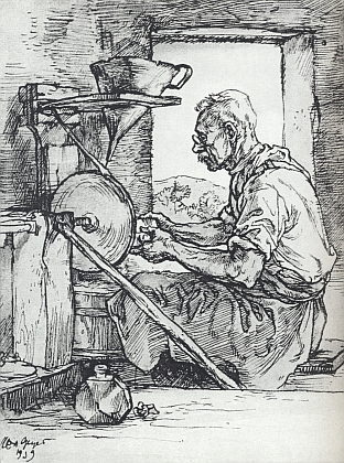 Šumavský brusič skla na kresbě Maxe Geyera (1904-1958) zroku 1939