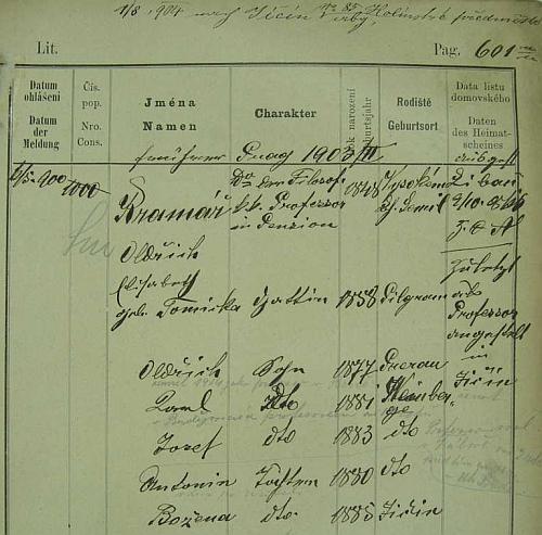 """Pražská policejní přihláška se """"správně"""" psanou chotí """"Elisabeth, geb. Tomicka"""", původem z Pelhřimova"""