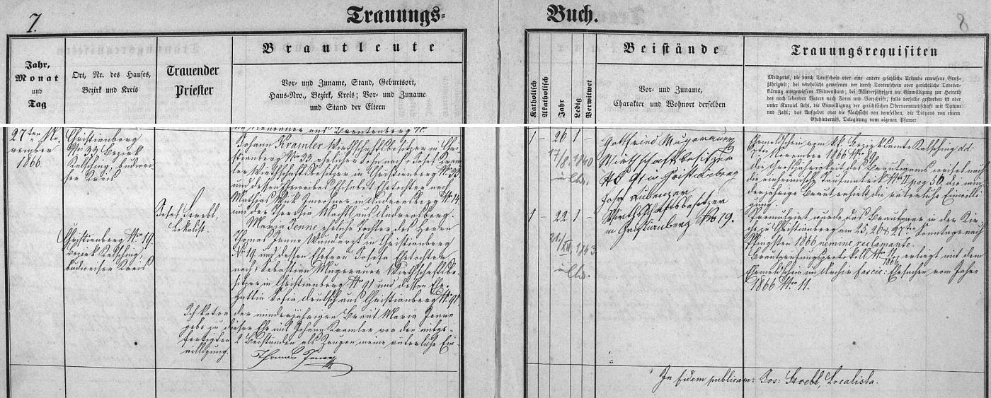 Záznam křišťanovské matriky o svatbě jeho a bratrových rodičů