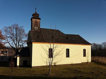 Kostel Jména Ježíš v Křišťanově po opravě věžičky v roce 2012 (viz i Karl Halletz)