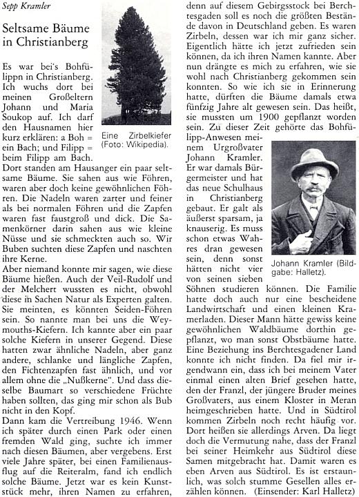O jeho rodném křišťanovském stavení, zvaném Bohfülippn, a jeho obyvatelích pojednává tento příspěvek Seppa Kramlera     s podobenkou někdejšího starosty obce Johanna Kramlera, který dal postavit místní školu