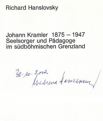 Titulní list knihy o něm s věnováním jejího autora Jihočeské vědecké knihovně
