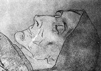 Kramlerova matka na úmrtním loži ve vlastnoručním kresbě synově