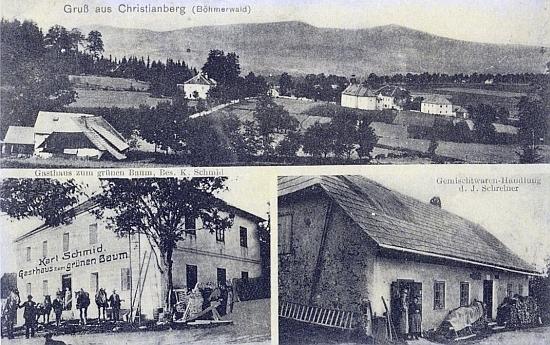 """Stará pohlednice z Křišťanova zachycuje pod celkovým panoramatem i místní hostinec """"U zeleného stromu"""" a obchod smíšeným zbožím"""