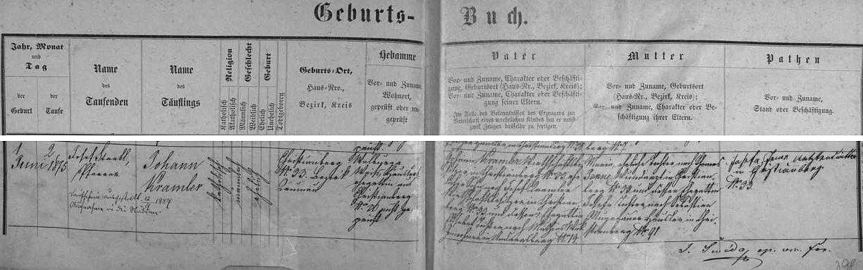 Podle křestní matriky farní obce Křišťanov narodil se tu v rodině Johanna Kramlera, majitele zdejší usedlosti čp. 33 (jeho otec Josef na ní hospodařil předtím se svou ženou Elisabeth, pocházející z dnes zaniklého Ondřejova), a jeho manželky Marie, dcery Josefa Jenneho, křišťanovského ranhojiče, jehož choť a Mariina matka Josefa byla pak dcerou Sebastiana Mugrauera, zdejšího chalupníka na čp. 91