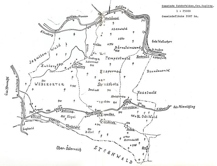 Podrobný plánek politické obce Krásná Pole (Schönfelden), k níž i rodné Nové Domky a také Kapličky mimo jiné náležely (viz i Gabriele Breitová)