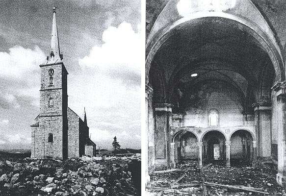 Tři snímky kostela v Kapličkách před jeho vyhozením do vzduchu v květnu 1959 - téměř po deset let předtím sloužil jako ovčín