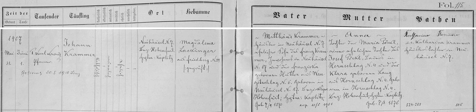 Záznam o jeho narození v křestní matrice farní obce Kapličky