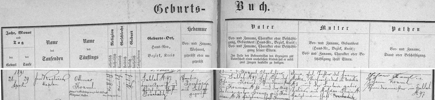 Záznam o jeho narození v křestní matrice farní obce Zbytiny