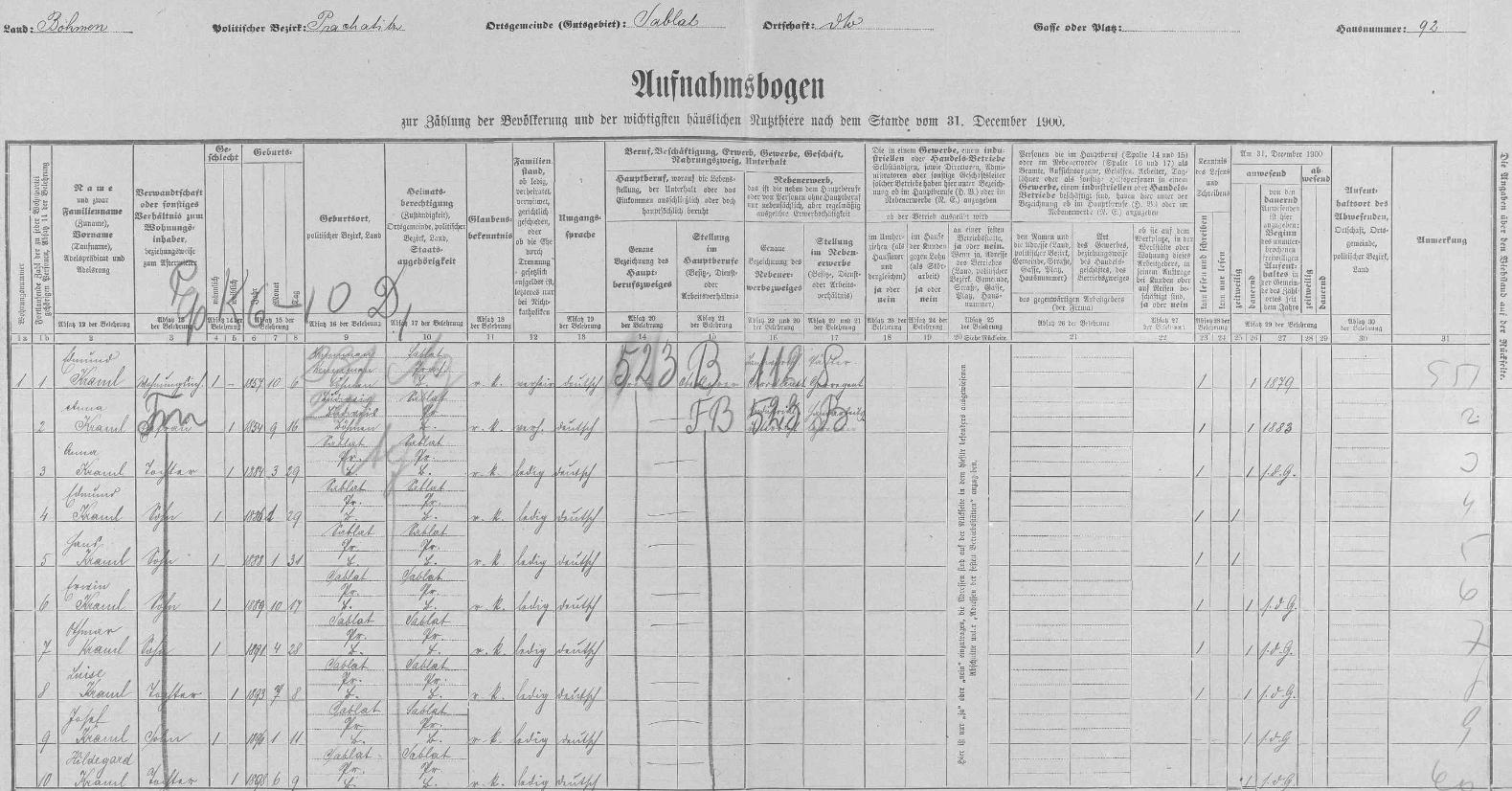 Početná rodina řídícího učitele Edmunda Kramla (*6. října 1857) a jeho ženy Anny (*16. září 1854) je tu i s jejich synem Othmarem a se sedmi ostatními ratolestmi zachycena na archu sčítání lidu z roku 1900 pro dům čp. 92 vZáblatí, v němž sídlila obecná škola