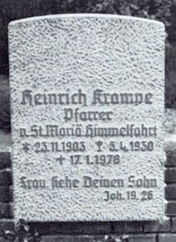 """Jeho hrob v Greven s citací Evangelia sv. Jana: """"Ženo, hle Tvůj syn"""""""