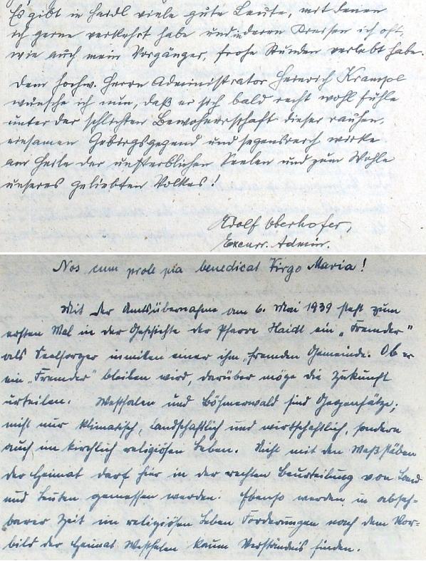 Zápis o jeho příchodu do Zhůří v roce 1939 a první řádky v kronice, zaznamenané jeho rukou