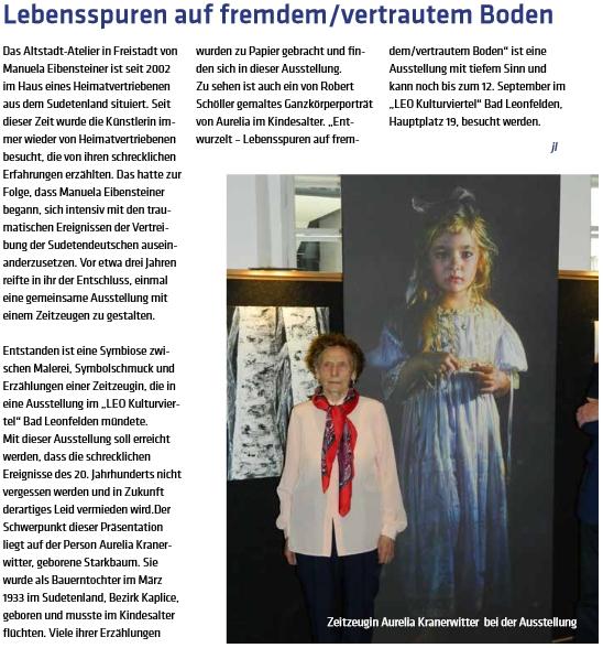 Článek o výstavě v Bad Leonfelden v roce 2015, jejíž byla důležitou aktérkou