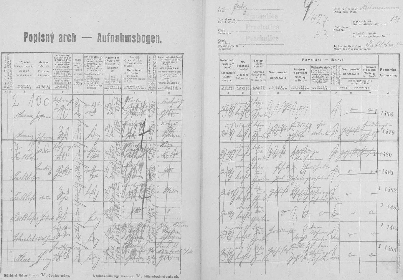 Popisný arch sčítání lidu z roku 1921 ho uvádí s matkou Justinou jako obyvatele prachatického domu čp. 131 vNeumannově ulici