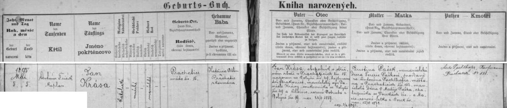 Záznam prachatické křestní matriky o narození Jana Krásy, jehož dědem byl Anton Pachelhofer