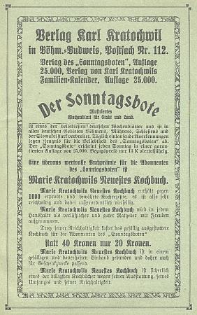 """Inzerát (1928) jeho nakladatelství, kde je knižní prémií předplatitelů týdeníku """"Der Sonntagsbote"""" kuchařka manželky Marie, roz. Pomahačové"""